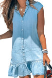 Sky Blue Cap Sleeve Button Front Denim Mini Dress LC224775-4