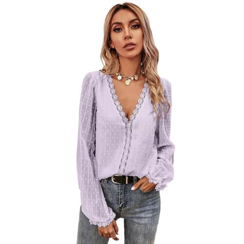 Purple Lace V Neck Chiffon Long Sleeve Tops TQK210792-8