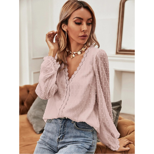 Pink Lace V Neck Chiffon Long Sleeve Tops TQK210792-10