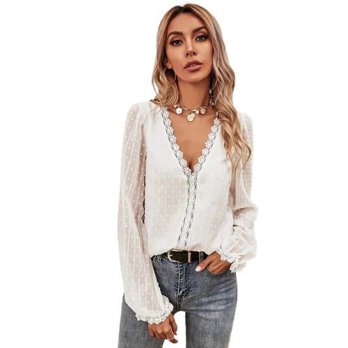 White Lace V Neck Chiffon Long Sleeve Tops TQK210792-1