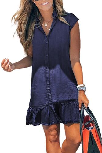 Blue Cap Sleeve Button Front Denim Mini Dress LC224775-5