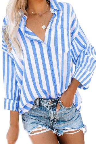 Sky Blue Stripe Print Button Down Shirt with Pocket LC2551425-4