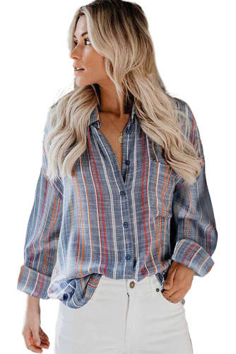 Orange Stripe Print Button Down Shirt with Pocket LC2551425-14