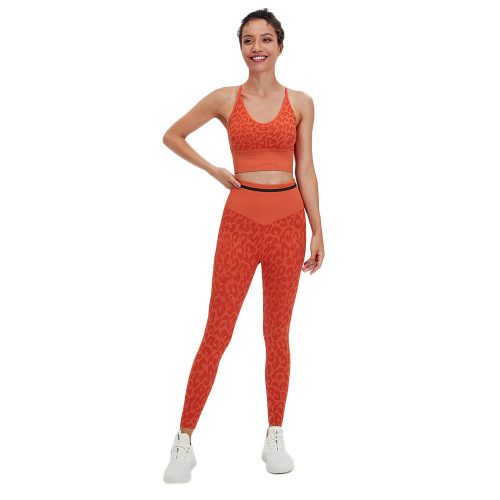 Orange Leopard Bra with Pants Yoga Set TQK710384-14