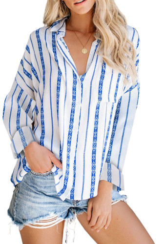 Blue Stripe Print Button Shirt with Pocket LC2551425-5