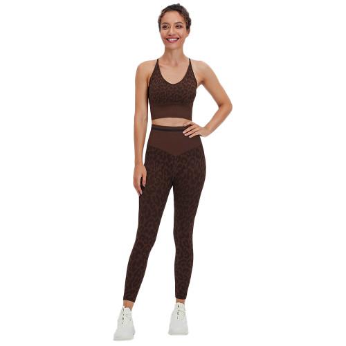 Coffee Leopard Bra with Pants Yoga Set TQK710384-15
