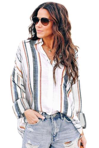 White Stripe Print Button Down Shirt with Pocket LC2551425-1