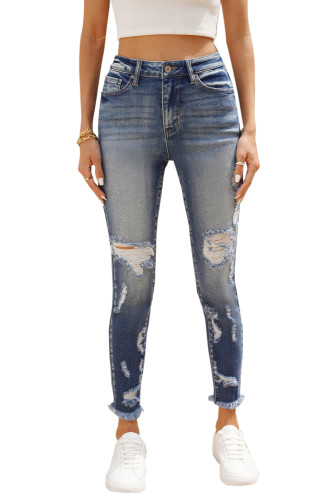 Sky Blue High Rise Distressed Raw Hem Skinny Jeans LC781964-4