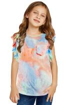 Orange Tie-dye Ruffled Little Girls' Tank TZ25391-14