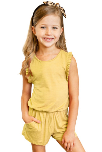 Yellow Ruffled Sleeveless Little Girl Romper TZ64005-7