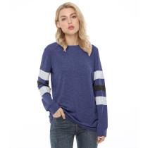 Navy Blue Cotton Blend Colorblock Long Sleeve Tops TQK210802-34