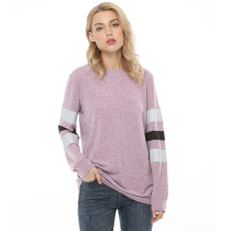 Light Purple Cotton Blend Colorblock Long Sleeve Tops TQK210802-38