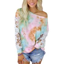 Light Pink Tie Dye Lace Long Sleeve Tops TQK210803-39