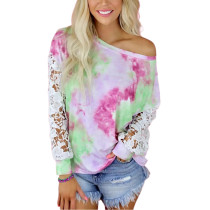 Pink Tie Dye Lace Long Sleeve Tops TQK210803-10