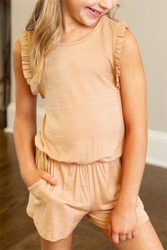 Apricot Ruffled Sleeveless Little Girl Romper TZ64005-18