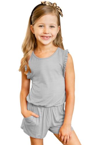 Gray Ruffled Sleeveless Little Girl Romper TZ64005-11