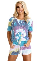 Blue Tie-dye Print Tee and Drawstring Shorts Lounge Set LC4511373-5