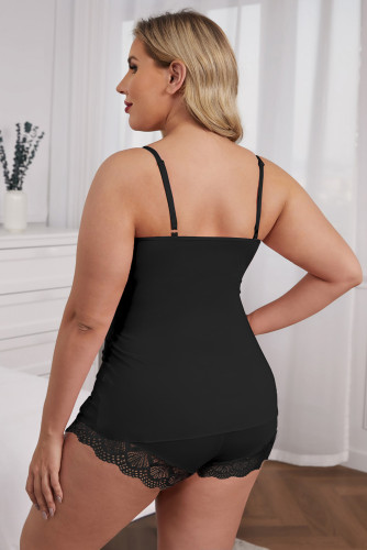 Black Lace Splicing Cami Top and Shorts Plus Size Lingerie Set LC35124-2