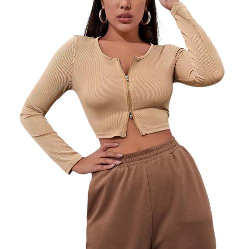 Khaki Rib Zipper Long Sleeve Crop Tops TQK210798-21