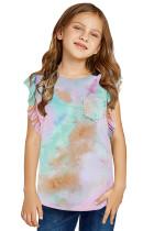 Multicolor Tie-dye Ruffled Little Girls' Tank TZ25391-22