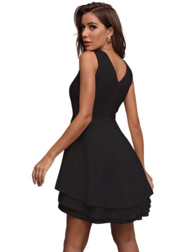 Black Layered V Neck Sleeveless Evening Dress TQE10130-2