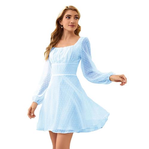 Light Blue Square Neck Swiss Dot Chiffon Long Sleve Dress TQK310630-30