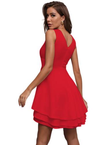 Red Layered V Neck Sleeveless Evening Dress TQE10130-3