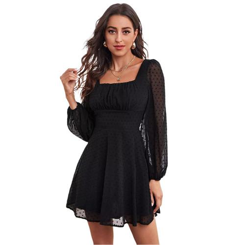 Black Square Neck Swiss Dot Chiffon Long Sleve Dress TQK310630-2