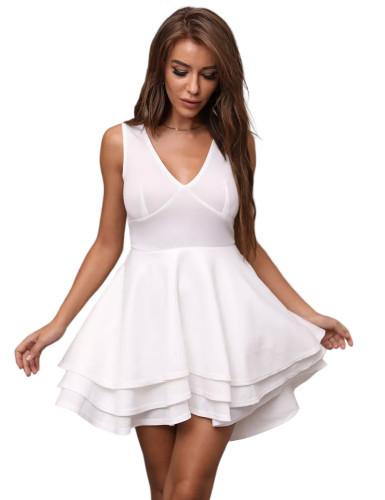 White Layered V Neck Sleeveless Evening Dress TQE10130-1