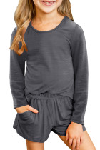 Gray Little Girls Casual Long Sleeve Pullover and Shorts Set TZ62011-11