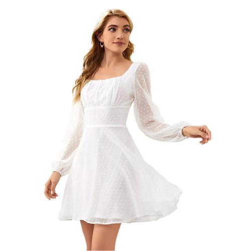 White Square Neck Swiss Dot Chiffon Long Sleve Dress TQK310630-1
