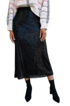 Black Sequin High Waist Bodycon Mid Skirt LC65930-2