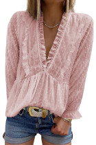 Pink Swiss Dot Long Deep V Neck Pleated Sleeve Top LC2518021-10