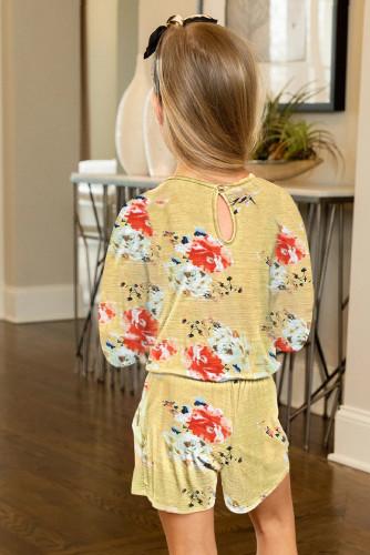 Yellow Little Girls' Floral Long Sleeve Romper TZ64042-7