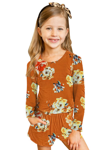 Orange Little Girls' Floral Long Sleeve Romper TZ64042-14