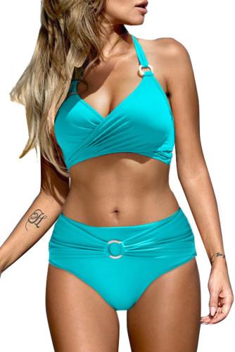 Sky Blue Halter Neck Criss Cross High Waist Bikini Set LC431214-4