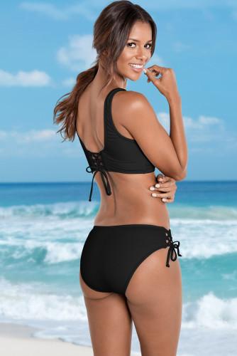 Black Ruched Criss Cross Self-tie Drawstring Bikini Set LC431266-2