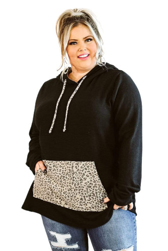 Black Plus Size Hoodie with Leopard Pocket LC253704-2