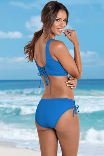 Blue Ruched Criss Cross Self-tie Drawstring Bikini Set LC431266-5