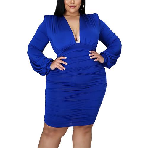 Blue Pleated Sexy Plus Size Bodycon Dress TQK310639-5