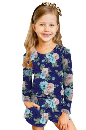Blue Little Girls' Floral Long Sleeve Romper TZ64042-5