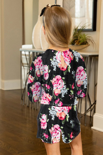 Black Little Girls' Floral Long Sleeve Romper TZ64042-2