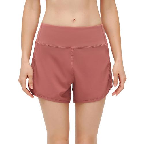 Red Lightweight Zipper Pocket Sports Yoga Shorts TQE91368-3