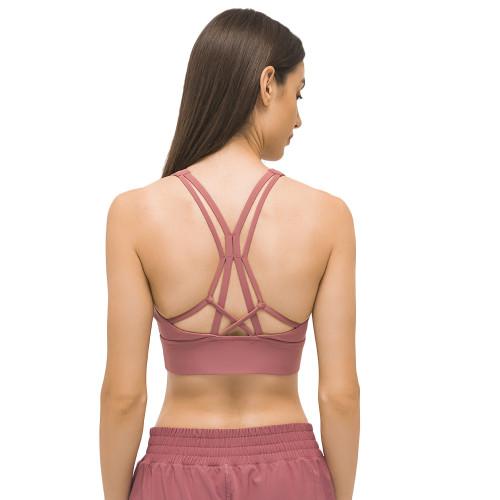 Red Back Cross Shockproof Sports Yoga Bra TQE11367-3