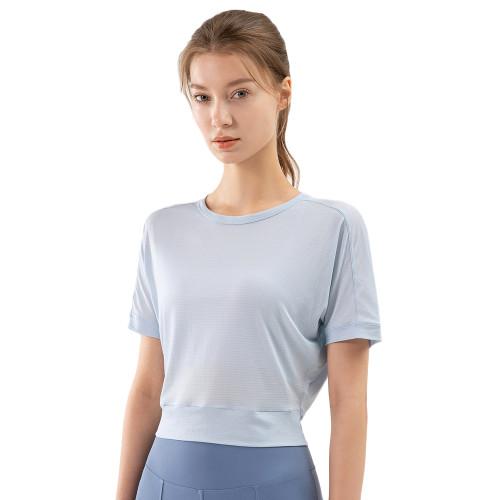 Light Blue Back Open Twist Short Sleeve Yoga Tops TQE11370-30