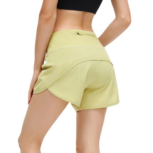 Light Yellow Lightweight Zipper Pocket Sports Yoga Shorts TQE91368-42