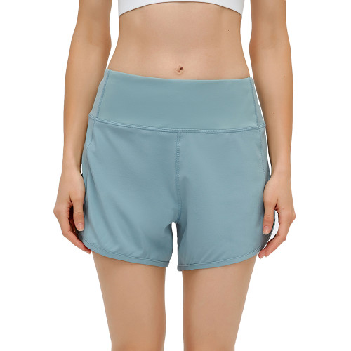 Blue Lightweight Zipper Pocket Sports Yoga Shorts TQE91368-5