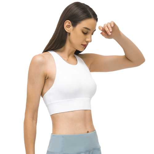 White Back Cross Shockproof Sports Yoga Bra TQE11367-1