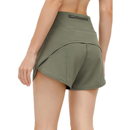 Olive Green Lightweight Zipper Pocket Sports Yoga Shorts TQE91368-52