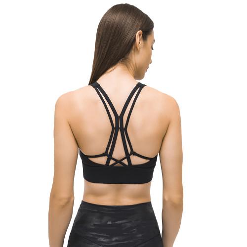 Black Back Cross Shockproof Sports Yoga Bra TQE11367-2